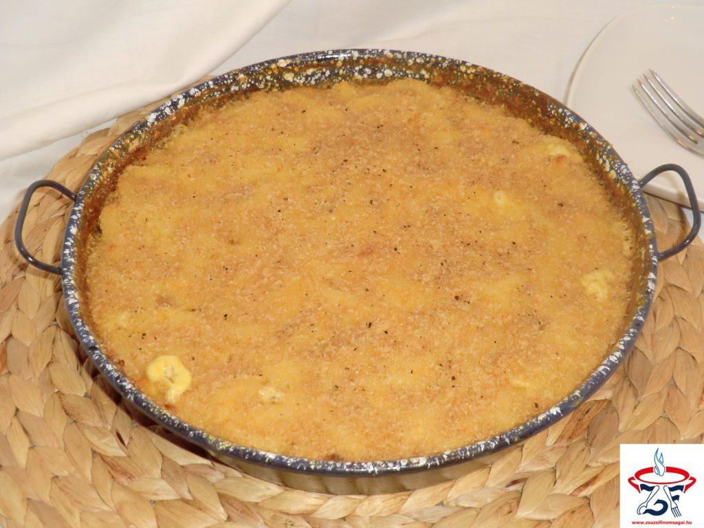 Egyserpenyős sajtos tészta